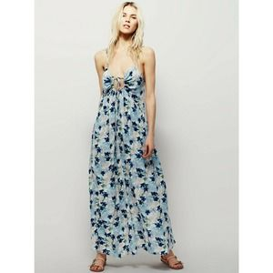 New $128 Free People Floral Mulberry Maxi Dress
